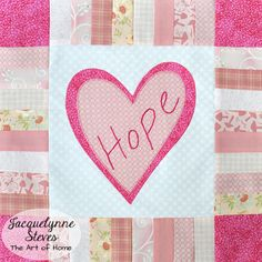Pink Heart quilt block tutorial- perfect for breast cancer or Valentine's Day quilt! #hope
