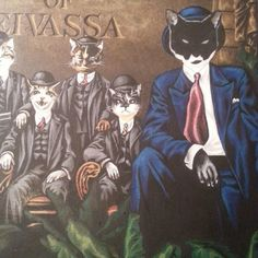 Dodi, Dusty and Copa (limpy) with gang leader Flynny #mognificentSeven #workinprogress by #julianquaye for #urbanInIbiza #MagnificentSeven #cats #art #original = #malarky and such forth