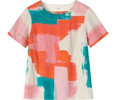 Buy Toast Medee Print Top, Natural/Multi from our Women's Shirts & Tops range at John Lewis & Partners. Build A Wardrobe, Natural Linen, Striped Tee, Sewing Clothes, Spring Summer Fashion, Printed Shirts, Fabric Design, T Shirts For Women, My Style
