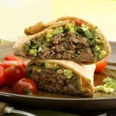 Kids and adults alike will love these quick, zippy burgers! Try our recipe for Southwestern Beef & Bean Burger Wraps. They'll be done in 25 minutes flat! @EatingWell Magazine #healthy #lunch #dinner