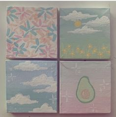 Small Canvas Paintings, Easy Canvas Art, Small Canvas Art, Cute Paintings, Mini Canvas Art, Art Painting Gallery, Painting & Drawing, Arte Sharpie, Acrilic Paintings