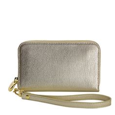 White Gold Wristlet Phone Wallet - Metallic Goatskin