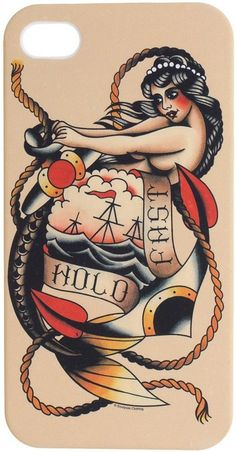 Hold Fast iPhone Case Traditional Tattoo Art Anchor Pinup Mermaid ...