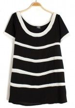 Black Striped Irregular Round Neck Chiffon T-Shirt