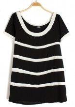 Black Striped Irregular Round Neck Chiffon T-Shirt