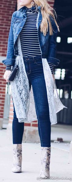 lace vest with denim jacket, skinny jeans, and snakeskin booties. lularoe joy outfit.