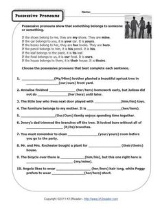 Fun With Personal Pronouns Worksheet Personal Pronouns Worksheet . Choose the possessive pronouns that best complete each sentence. Singular Possessive Nouns, Possessive Nouns Worksheets, Spelling Worksheets, First Grade Worksheets, Free Kindergarten Worksheets, Printable Worksheets, Number Worksheets, School Worksheets, Nouns First Grade
