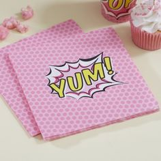 These are cute paper napkins for a superhero party! In a pretty pink spotty pop art design - Pop Art Superhero Party at GingerRay.co.uk