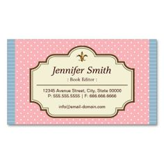 Book Editor - Cute Polka Dots Business Cards