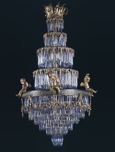 A Rare Cut Crystal and Gilt-Bronze Waterfall Chandelier, by La Compagnie des Cristalleries de Baccarat, French, Circa 1900.