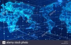A cyberspace rendering of a global mass media map with some signs and numbers, a light blue cubic network, plenty of sparkling spots, shining broad Stock Photo 3d Rendering, Light Blue, Map, Stock Photos, Signs, Illustration, Numbers, Location Map, Shop Signs