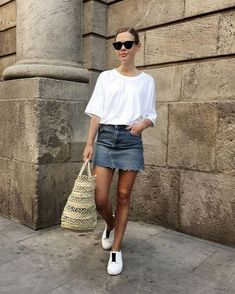 Dark sunnies - check. Denim - check. Sneakers - check. White crisp top - check. Ready for the party - checkity check. | How to Make The Most Basic Outfit Look Good