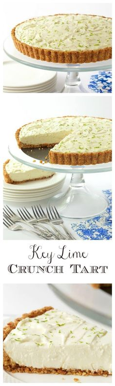 Key Lime Crunch Tart With a crunchy coconut-almond shortbread crust and a creamy, light, key lime filling, this easy, make-ahead dessert is ALWAYS a hit! via The Café Sucre Farine Tart Recipes, Dessert Recipes, Cooking Recipes, Fudge Recipes, Lime Recipes, Sweet Pie, Sweet Tarts, Make Ahead Desserts, Just Desserts