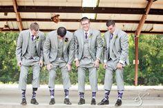 Garden Wedding Venue   Light Gray Groomsmen Suits