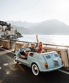 Image may contain: car, sky, mountain, outdoor and nature via Fiat 500, Positano, Lauren Bullen, Motos Vespa, Porsche 912, European Summer, Photos Voyages, Cute Cars, Amalfi Coast