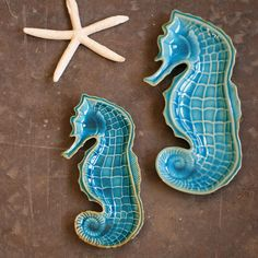 Ceramic Seahorse Platters. @Porsche Whitehead Sand 'N Sea Properties LLC, Galveston, TX #sandnseavacation #vacationrental #sandnsea