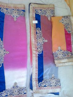 Heavy Party Wear Saree (available in three color) with patch work,zari,border work rasham & thread work
