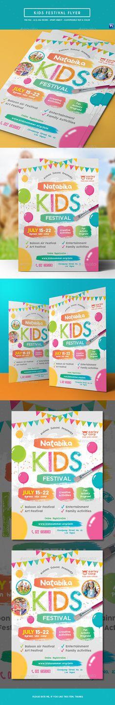 Kids Festival Flyer Design Template - Events Flyers Design Template PSD. Download here: https://graphicriver.net/item/kids-festival-flyer/18953464?ref=yinkira