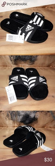 ecfecbccef26d Men s black   White adidas slides