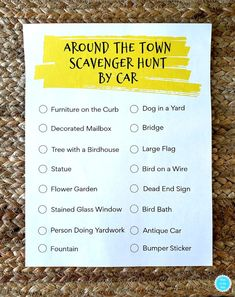 I have a fun way for you to get out of the house AND avoid people! An Around Town Scavenger Hunt by Car! Teen Scavenger Hunt, Outdoor Scavenger Hunts, Scavenger Hunt Birthday, Photo Scavenger Hunt, Fun Games, Activities For Kids, Group Games, Youth Games, Indoor Activities