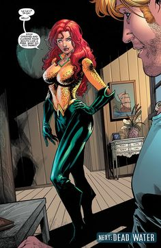 "Aquaman's former assassin and current love interest, Mera, dons the mantle in Aquaman #49 by writer Dan Abnett and artist Vicente Cifuentes. Ironically, Mera chose the costume of DC Universe's most underappreciated superhero to be taken seriously.   ""I must be what they expect..."" she explains. ""This is a surface-dweller thing called 'marketing.'""   http://l7world.com/2016/02/aquaman-meets-aquawoman.html"