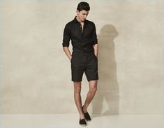 Black on black reigns with a slim linen shirt and tailored shorts from Reiss.