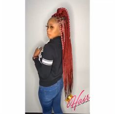 # jumbo box Braids videos Pɪɴ-ᴀᴀʀʏ's ɪᴅᴇᴀs💡📌 - New Site Short Box Braids Hairstyles, Braided Ponytail Hairstyles, Baddie Hairstyles, African Braids Hairstyles, Black Girls Hairstyles, Weave Hairstyles, Red Box Braids, Jumbo Box Braids, Braids With Weave