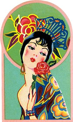 An exotic lady with a fancy rose and Spanish comb. This image comes from a bridge tally. These beautiful cards were created in the1920s and '30s when ladies' bridge parties were all the rage. They were a fancy and decorative way to keep score, and have a souvenir of a entertaining social event. We have reproduced them as they were originally: die-cut and embellished with gold foil. We provide a dark card with a deco pattern which makes an ideal background to frame or otherwise display...