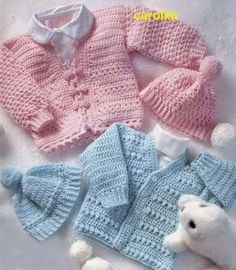 LeisureArts provides wide collections of Crochet baby sweater set patterns for boy & girl. Your little ones will be warm and cozy and cute as can be when the weather's cold. Crochet Baby Sweaters, Crochet Baby Clothes, Baby Knitting, Hat Crochet, Boy Crochet Patterns, Baby Hat Patterns, Clothes Patterns, Dress Patterns, Knitting Patterns