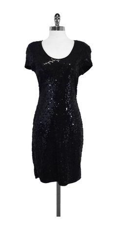 Carmen Marc Valvo Black Sequin Short Sleeve Dress