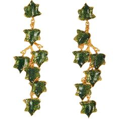 Madina Visconti di Modrone Green Ivy Vine Earrings (€490) ❤ liked on Polyvore featuring jewelry, earrings, gold, green gold earrings, yellow gold jewelry, green earrings, gold earrings and gold earrings jewelry