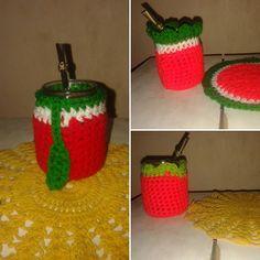 Mates con funditas tuti frutti✨  Elegí el tuyo: Manzana 🍎 Sandía 🍉 y Frutilla 🍓 #crochetconamor #tutifrutti #mates