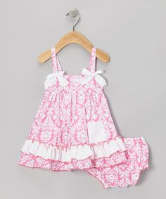 Love this Pink Damask Ruffle Swing Top & Diaper Cover - Infant on #zulily! #zulilyfinds