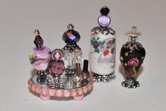 Handmade Dollhouse Miniature Vanity/Toiletries, Miniature Mirror Tray, Dollhouse Mini Bottles, Purple, White, Pink, Silver Set