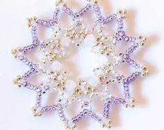 Set of Six Luxurious Purple Beaded Frozen Snowflake Christmas Decorations/Ornaments