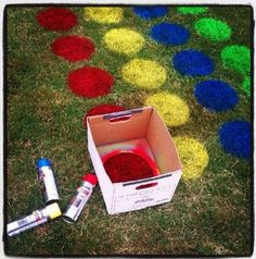 Yard Twister Use spray paint to make circles on grass like twister game board!