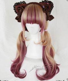 Hair brunette ombre red curls ideas for 2019 Kawaii Hairstyles, Pretty Hairstyles, Wig Hairstyles, Red Curls, Brown Curls, Cosplay Hair, Cosplay Wigs, Kawaii Wigs, Lolita Hair