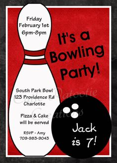 Bowling Birthday Invitation Bowling Party by OneWhimsyChick