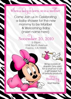 Waterbaby Designs: Baby Minnie Baby Shower Invite