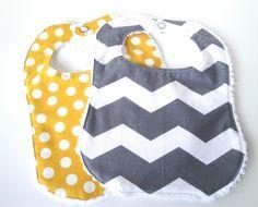 Gray Chevron Bib, Yellow Bib, Burp Cloth, Baby Boy Gift, Baby Girl Bib, Baby Gear, Baby Accessories. $14.50, via Etsy.