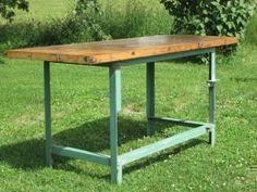 Walker Antiques Green Angle Iron Industrial Table with Butcher ...
