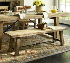 Benchwright Reclaimed Wood Bench - Wax Pine finish #potterybarn .. Dustin and I have been looking at this table for a long time (ok, more me).. one day when we have the room