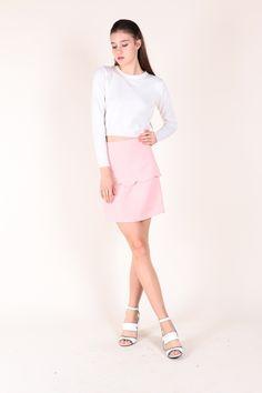 Scallop Layer Skirt (Pink)  $36