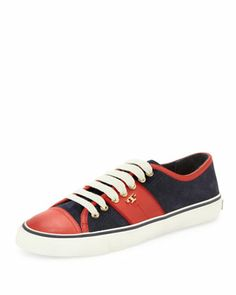 Churchill Striped Suede Sneaker, Navy/Ivory/Red  by Tory Burch at Neiman Marcus.