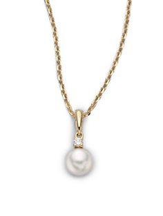 Mikimoto - 6MM White Cultured Akoya Pearl, Diamond & 18K Yellow Gold Pendant Necklace