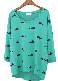 Green Round Neck Whale Print Loose T-Shirt. UHM, YES!!! Where has this been all my life. Why don't I own this already??