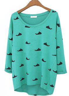 Camiseta suelta cuello redondo ballena-Verde EUR€17.87