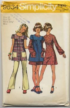 I made a couple of these smock tops in high school as well. Simplicity 9834 Womens / Teens Boho Mini Dress Smock & Pants Vintage Sewing Pattern Size 11 JP or Size 10 Simplicity Sewing Patterns, Vintage Sewing Patterns, Clothing Patterns, Estilo Fashion, 70s Fashion, Vintage Fashion, Cheap Fashion, Fashion Women, Moda Retro