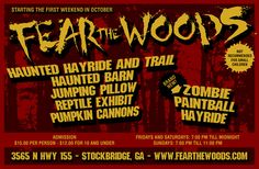 New this fall ZOMBIE paintball hayride. fearthewoods.com