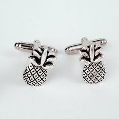 Men's Silver Pineapple Cufflinks, Welcome Hospitality Pair of Tropical Fruit Ananas Cuff Links - Guys Gift on Etsy, $21.99